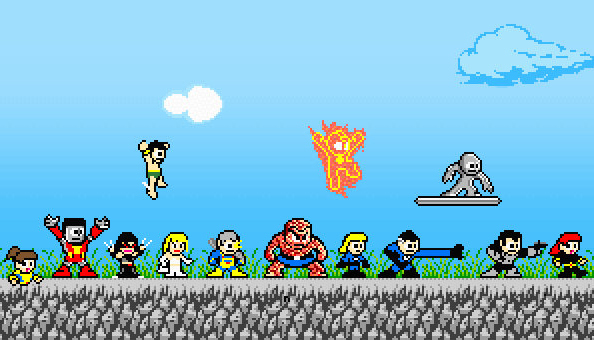 Marvel characters in classic Megaman style
